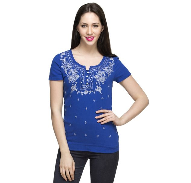 Women Blue Embroidered Top