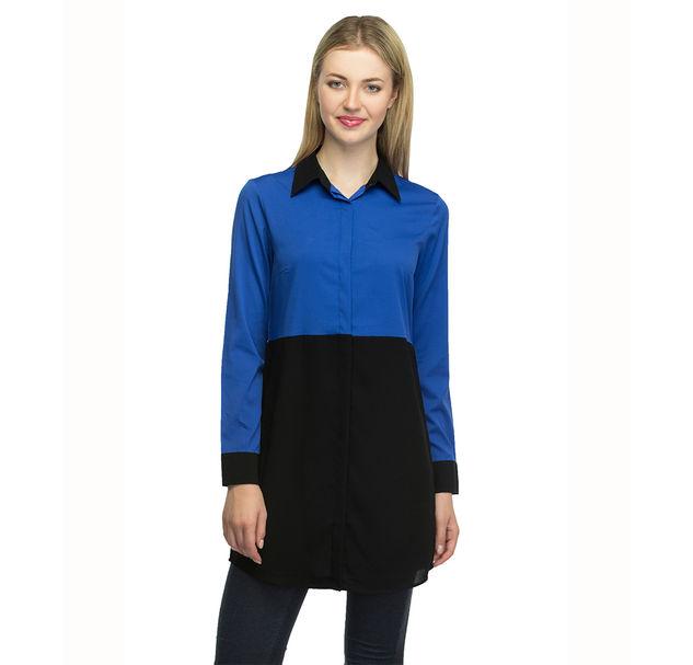 Women Blue Long Shirt