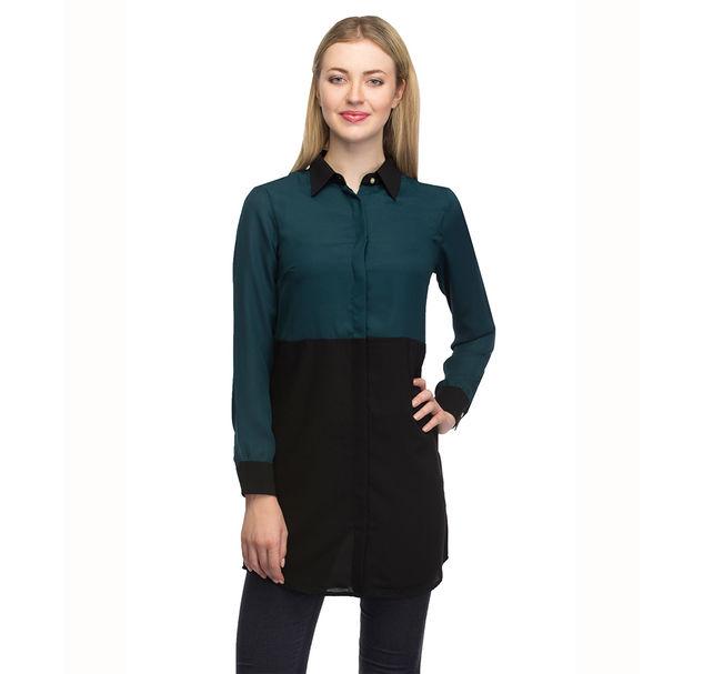 Women Green Long Shirt