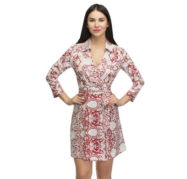 Women Red Wrap Dress