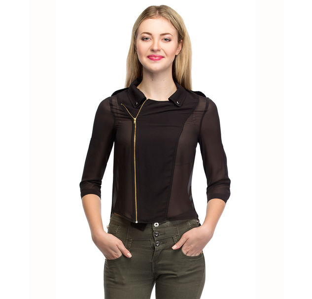 Women Black Zip Top