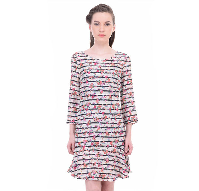 Women Striped Floral Dress