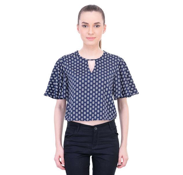 Women Blue Crop Top
