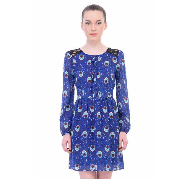 Women Blue Lace Dress