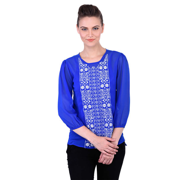 Blue Top With White Floral Embroidery On Yoke