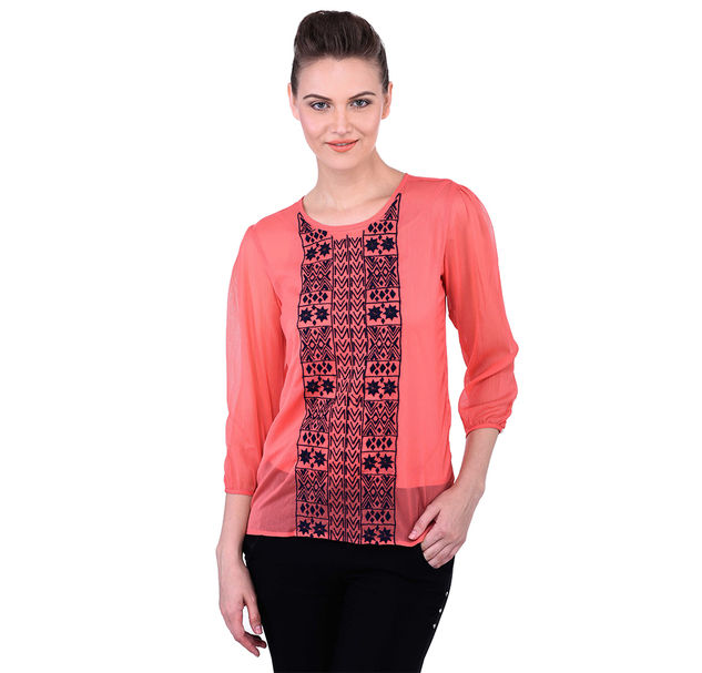 Pink Top With Floral Embroidery On Yoke