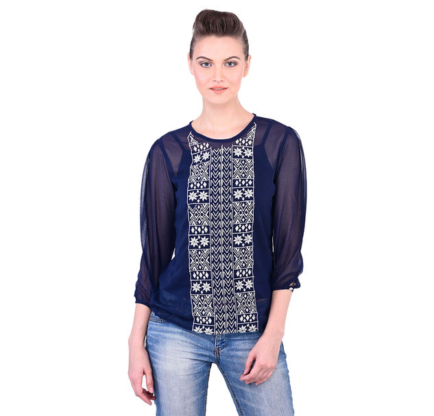 Navy Blue Top With White Floral Embroidery On Yoke
