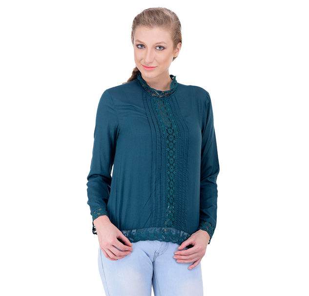 Women teal lace top