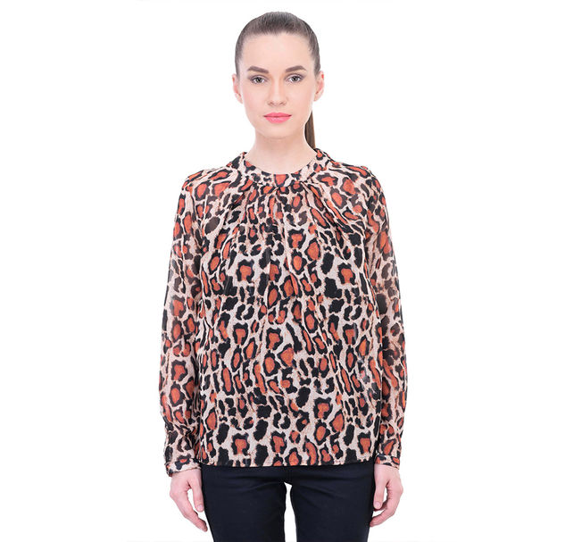 Women Printed Pleated Top