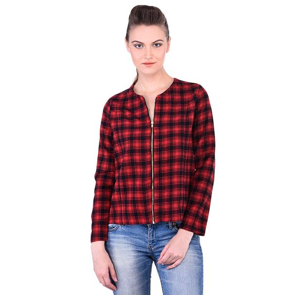 Red Cotton Zipped Check Jacket
