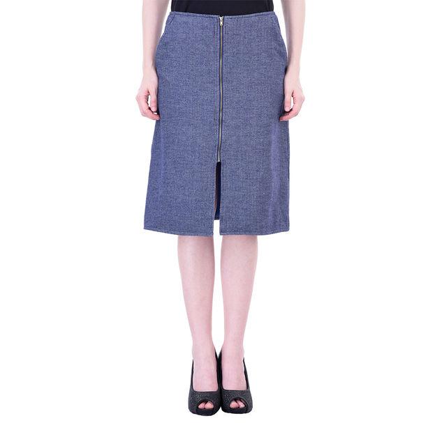 Women Blue Jacquard Skirt