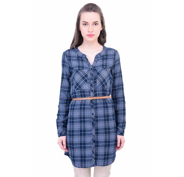 Women Blue Cotton Tunic