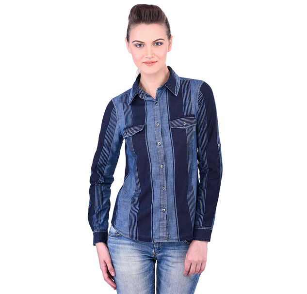 Long Sleeve Blue Cotton Striped Shirt
