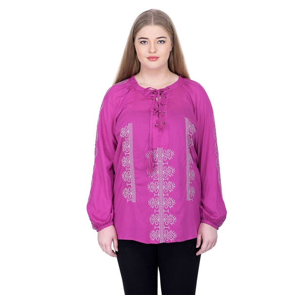 Plus pink embroidered top