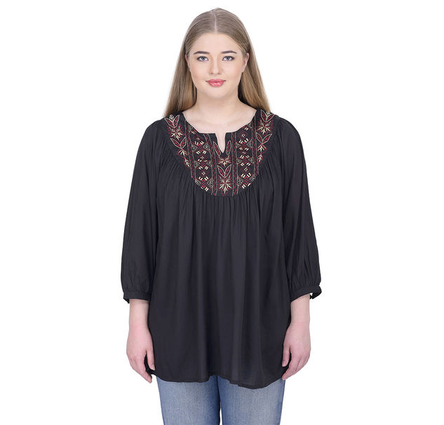 Plus Black Embroidered Top
