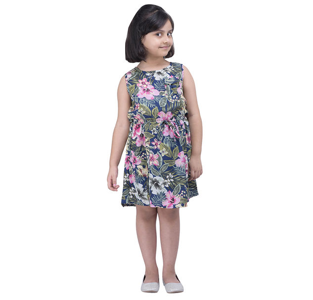 Girls Floral Tie-Up Dress