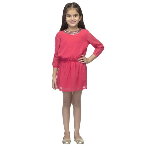 Girls pink sequin dress