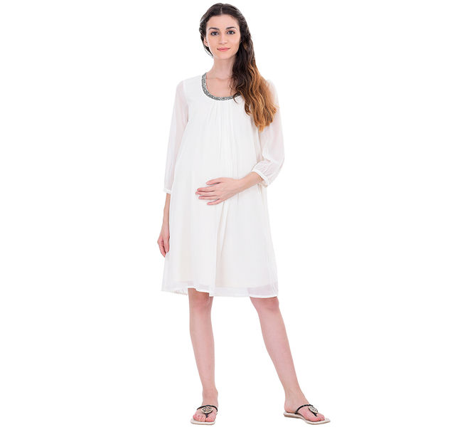 Maternity White Party Dress