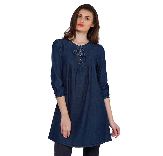 Women Blue Denim Tunic