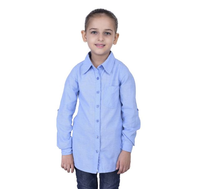 Girls blue cotton shirt