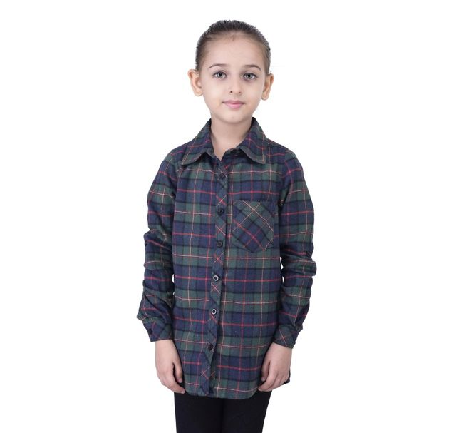 Girls multi check cotton shirt