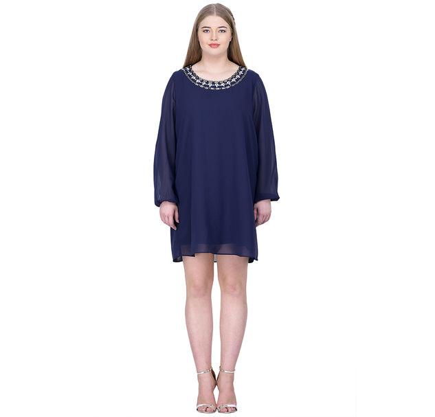 Plus Blue Party Embellished Dress
