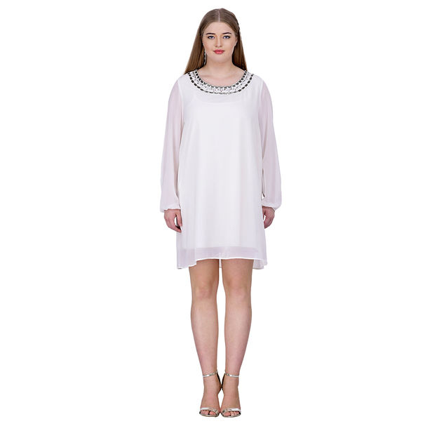 Plus White Party Embellished Dress