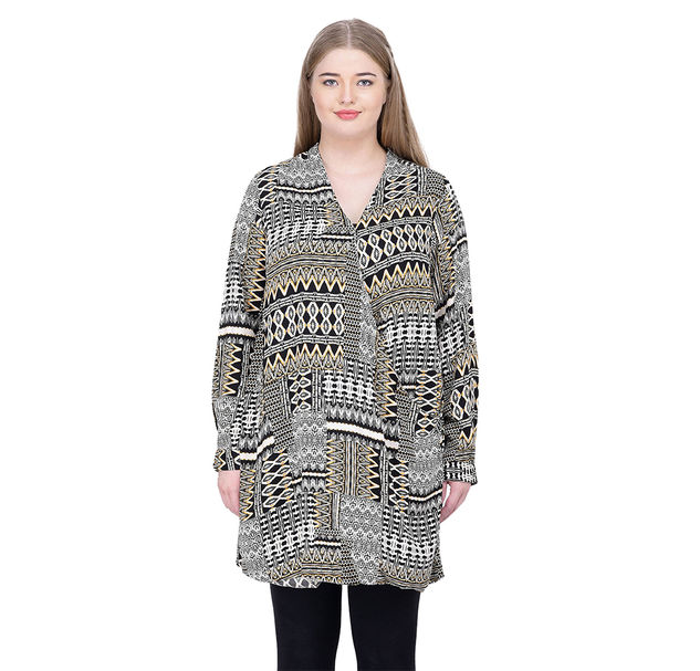 Plus Abstract Wrap Tunic