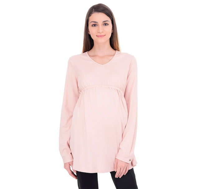 Maternity Peach Cotton Tunic