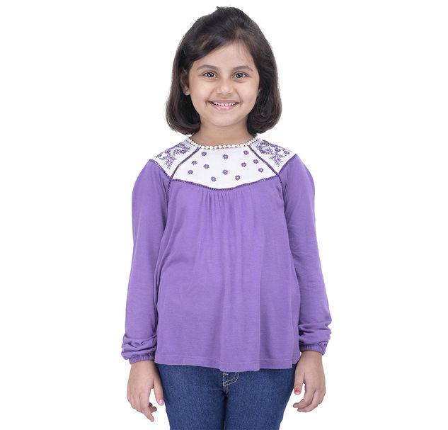 Girls Purple Embroidered Tunic