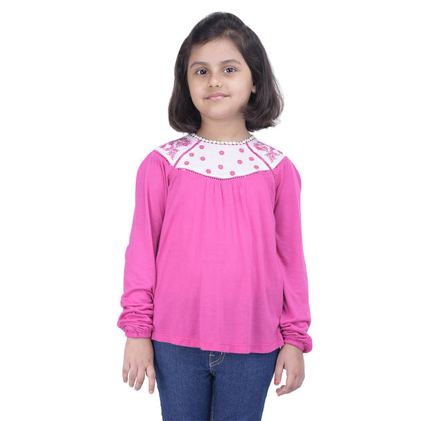 Girls Pink Embroidered Tunic