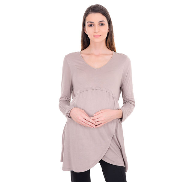 Maternity Grey Wrap Tunic