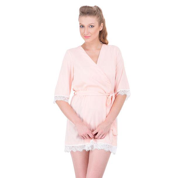 Women peach nightwear robe