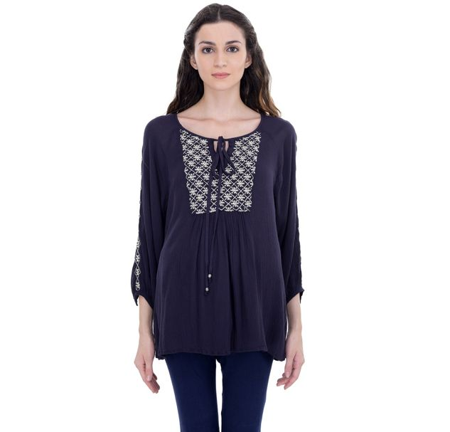 Maternity Navy Embroidered Tunic