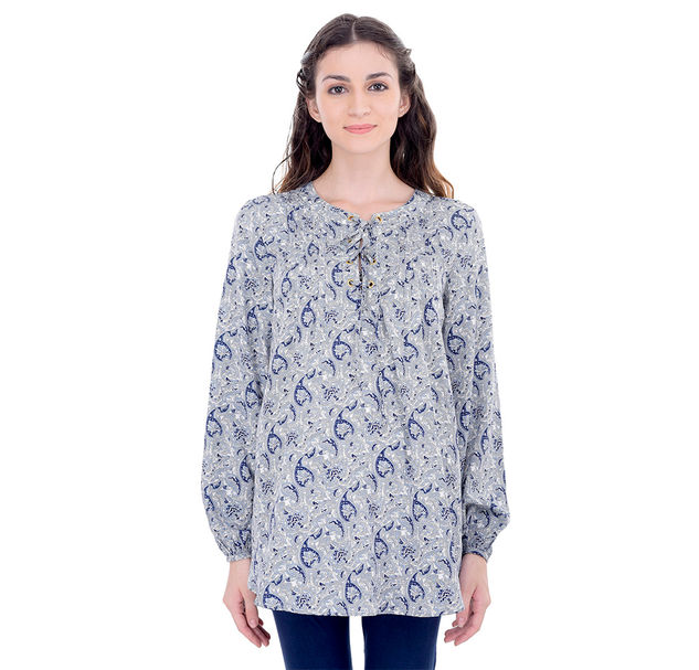 Maternity Blue Tie-Up Tunic