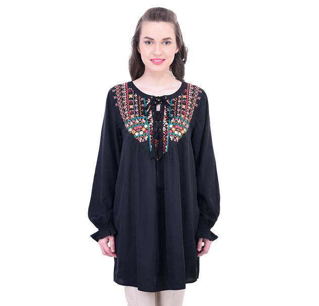 Women Black Embroidered Tunic