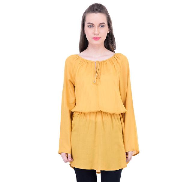 Women Yellow Elastic Tunic