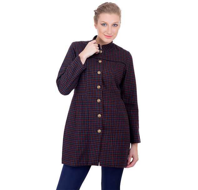 Women Cotton Check Long Jacket