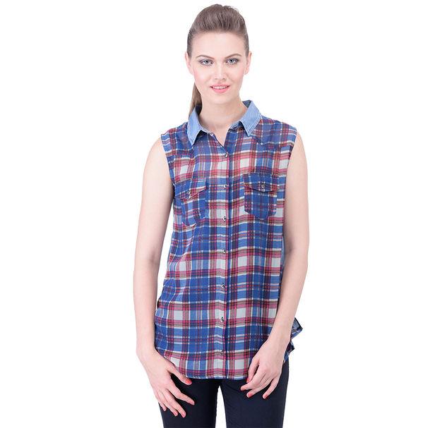 Stylish Check Sleeveless Shirt