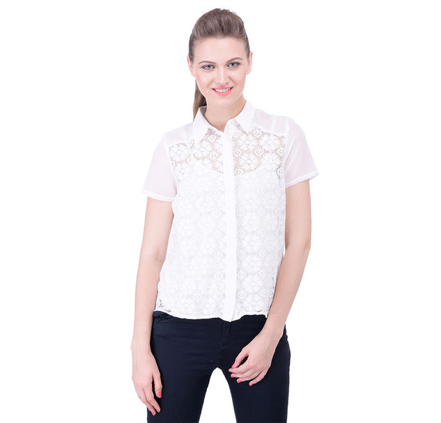 Short Sleeve Off-White Lace Shirt