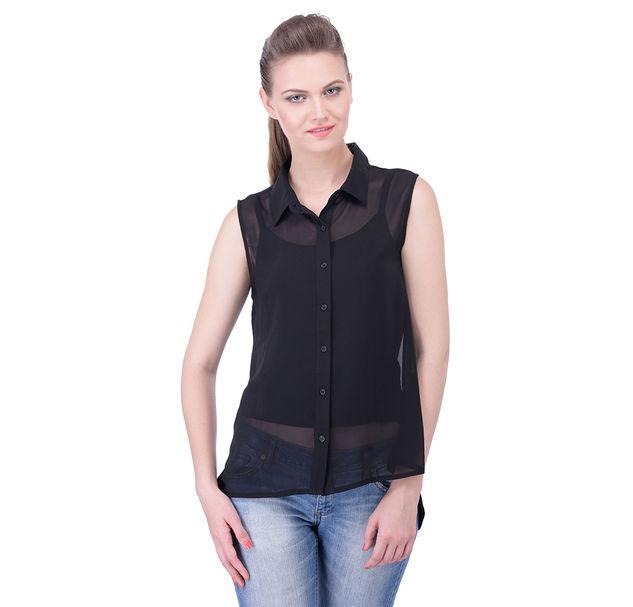 Regular Black Sheer Sleeveless Shirt