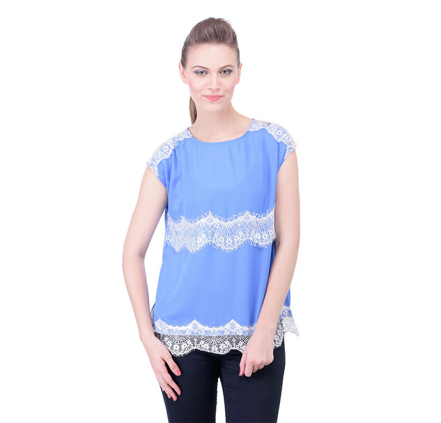 Women lace blue top