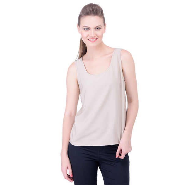 Beige Solid Sleeveless Round Neck Top