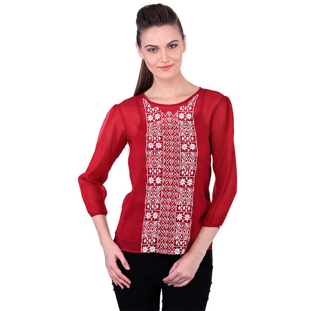 Red Top With White Floral Embroidery On Yoke