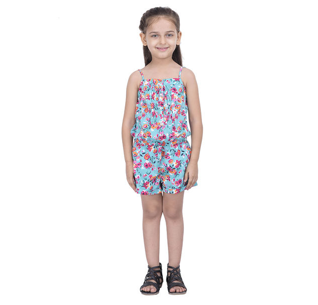 Girls floral button playsuit