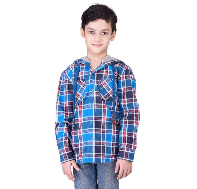Boys cotton check hoodie shirt