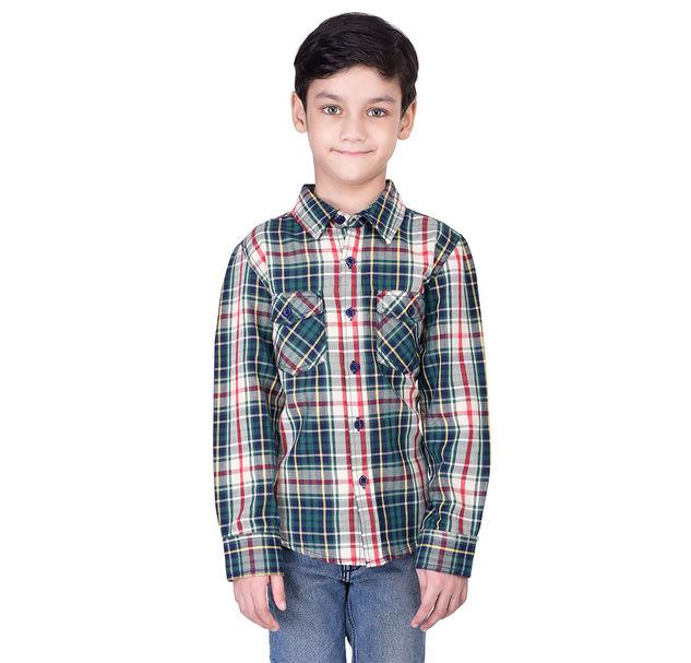 Boys cotton multi check shirt