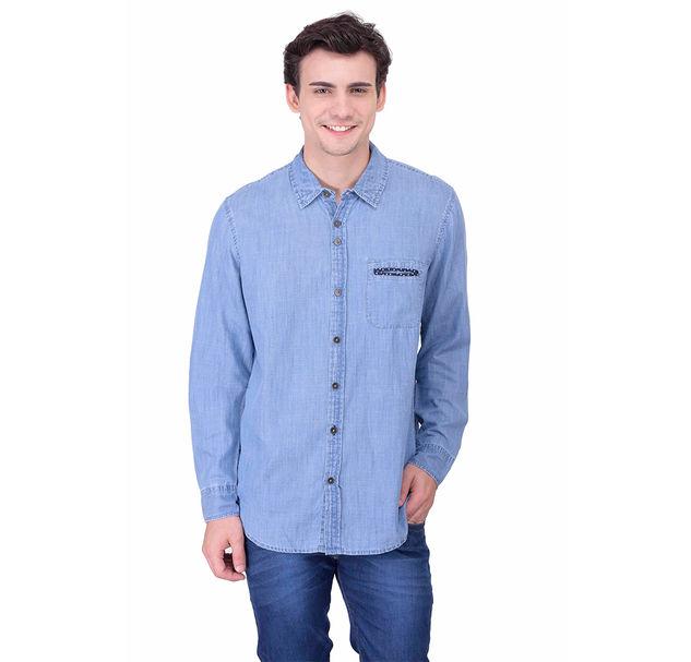 Men blue denim shirt