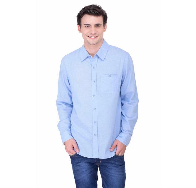 Men smart blue cotton shirt