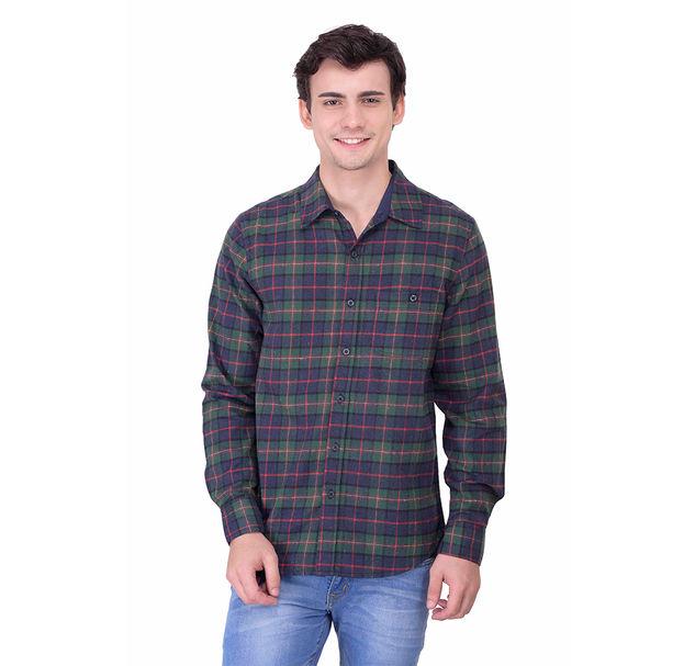 Men cotton multi check shirt